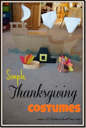 Simple Thanksgiving Costumes for Kids - Super cute Mayflower boat you can make out of cardboard and pilgrim, Indian, and turkey craft for kids. Perfect for a Thanksgiving play!!