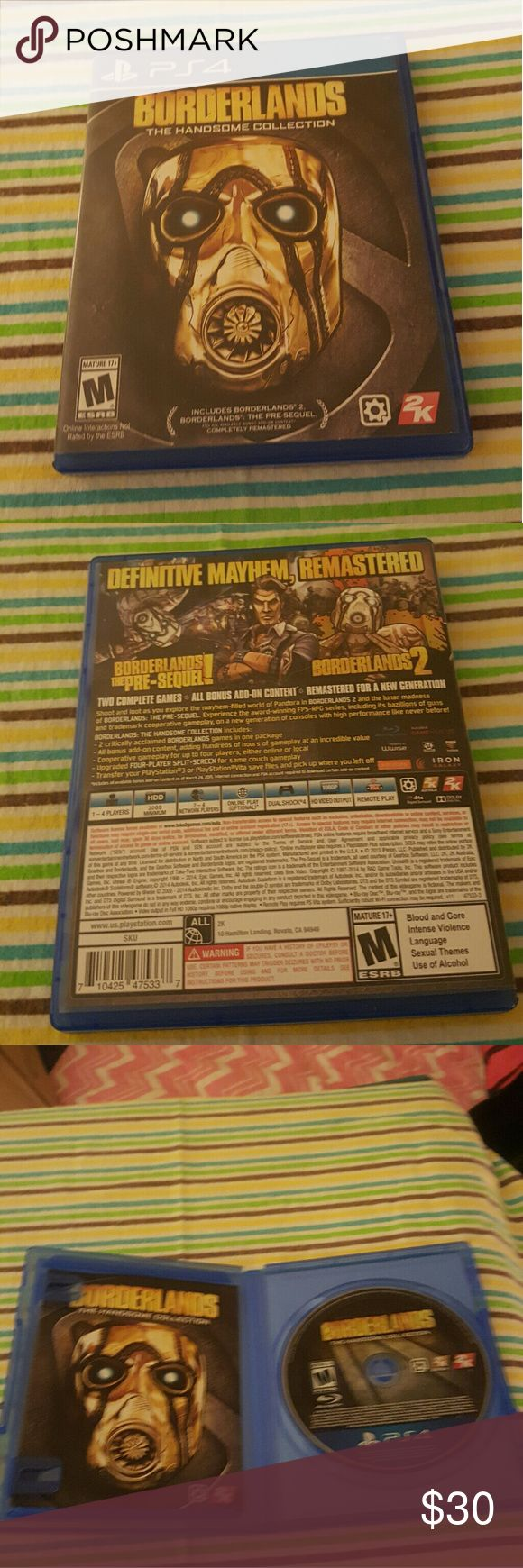 PS4 Borderlands: The Handsome Collection This game includes Borderlands 2, Borderlands the pre-sequel & ALL available add-on Bonus Content COMPLETELY REMASTERED!!  Just like the other PS4 games listed (excluding WWE 2K16)  I don't know much about it,  except for the fact that it was also purchased in a bundle,  plastic wrap removed,  but my son never played it.   **REASONABLE OFFERS ACCEPTED ONLY!! ** Other