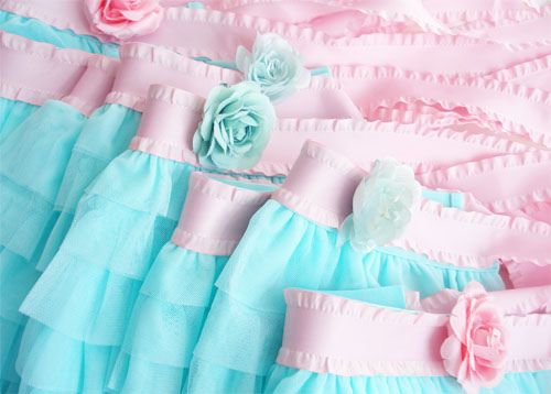 Ruffled Tulle Aprons ~ Aqua and Pink