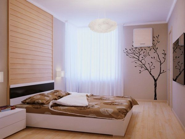 modern small bedrooms ideas wood flooring white furniture decorative wood panels