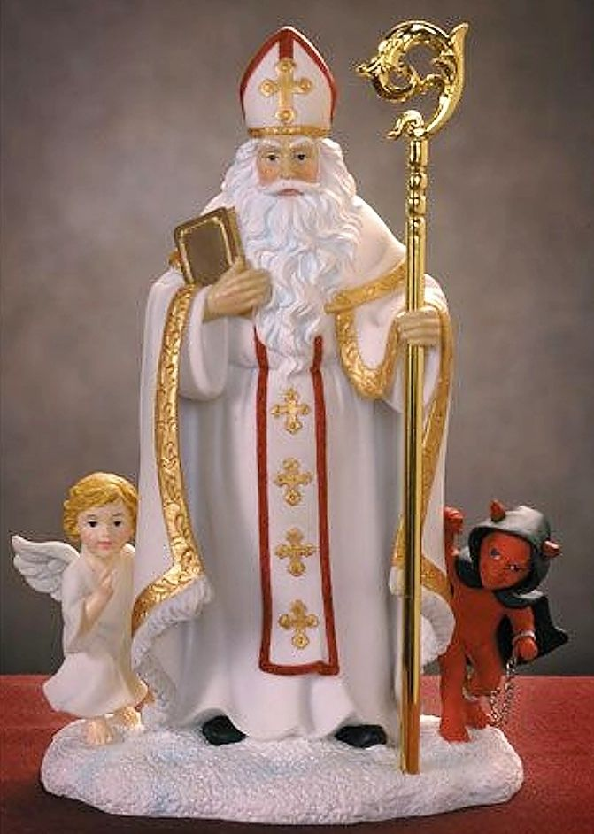 Svatý Mikuláš, or St. Nicholas, also brings gifts in addition to the baby Jesus, but in the beginning of December, on St. Mikulas Day,January 6th. St. Mikuláš is dressed like a bishop in white clothing, rather than in the red Santa suit we are familiar with. Czech.