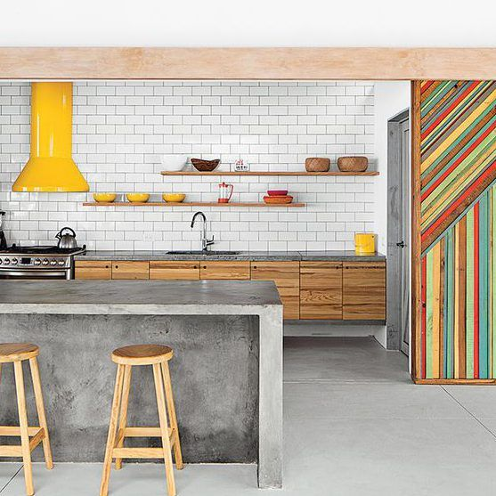 What don't I like about this Kitchen look?  NOTHING!  Subway tile, concrete, recycled wood & pops of colour... I found my kitchen!!!  But with CABINETS! The picture in MY mind is perfect...