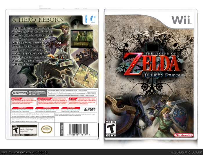 zelda all covers | Zelda Twilight Princess Wii Box Art Cover by sinfulcomplexitys