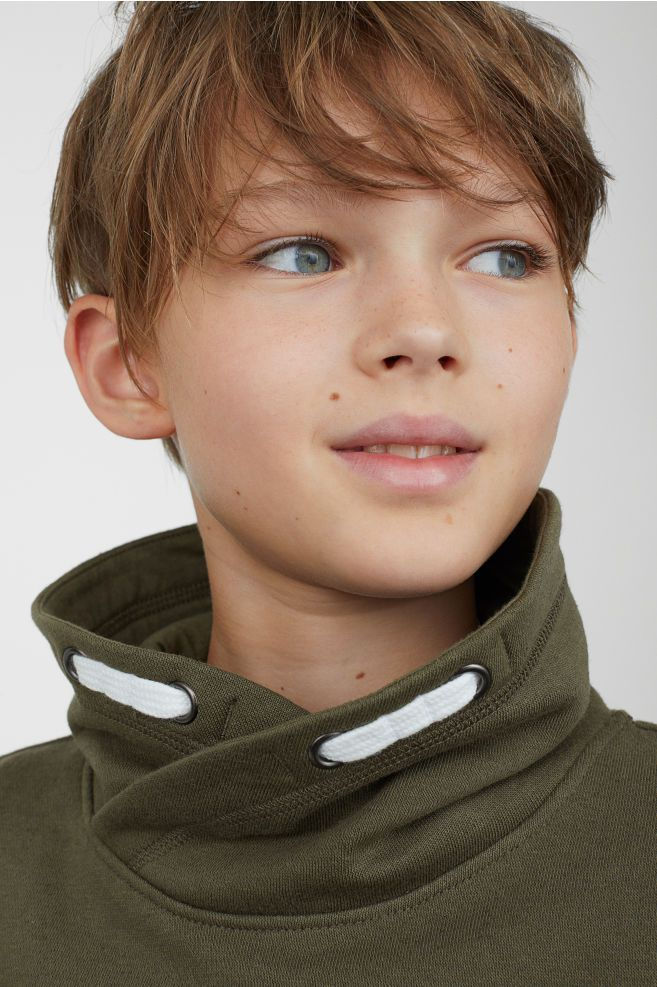Chimney Collar Sweatshirt Hipster Hairstyle Collared