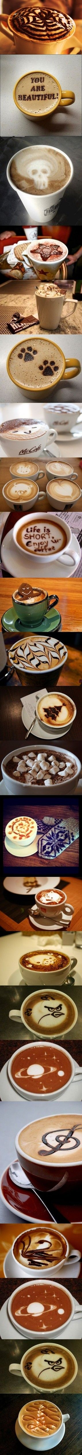 #Coffee collection // pinned by @welkerpatrick: Coffee Lovers, Coff Design, Latte Art, Coff Art, Drinks Coffee, Hot Drinks, Coffee Café, Coffee Art, Coffee Design