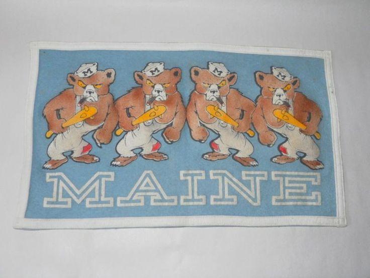 C1950'S VINTAGE College PENNANT Banner MAINE Felt BEARS