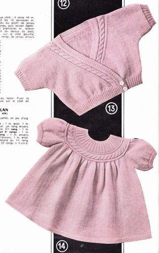 POUR OBTENIR LES EXPLICATIONS CLIQUER SUR LE LIEN SUIVANT: ROBE ET CACHE COEUR Extrait de tricotons sa layette N° 56 de 1961 par La malle ô trésor de Sylvie