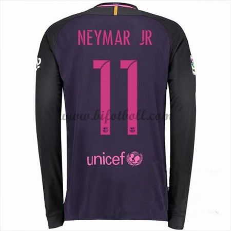 Billiga Fotbollströjor Barcelona 2016-17 Neymar Jr 11 Långärmad Borta Matchtröja