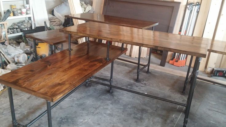 rustic industrial l shaped two tier desk done with pipes frazer construction frazerfurniture. Black Bedroom Furniture Sets. Home Design Ideas