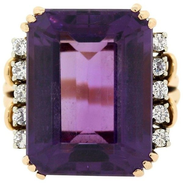 Preowned Vintage Amethyst Diamond Gold Ring (6,340 ILS) ❤ liked on Polyvore featuring jewelry, rings, fashion rings, purple, purple diamond ring, vintage rings, yellow gold diamond rings, purple ring and vintage diamond rings