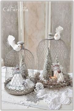 kerst decoratie glazen stolp met kippengaas nodig stolp kerst boompjes