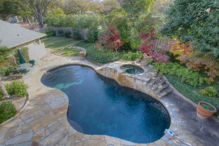 Lagoon style #pool with #spa attached, perfect for those hot summer days or cold winter nights! 3854 Overton Park Drive West, Fort Worth, Texas 76109 #fortworth