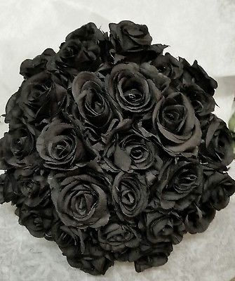 Artificial black rose bouquet for wedding or home  beautiful quality 30 roses