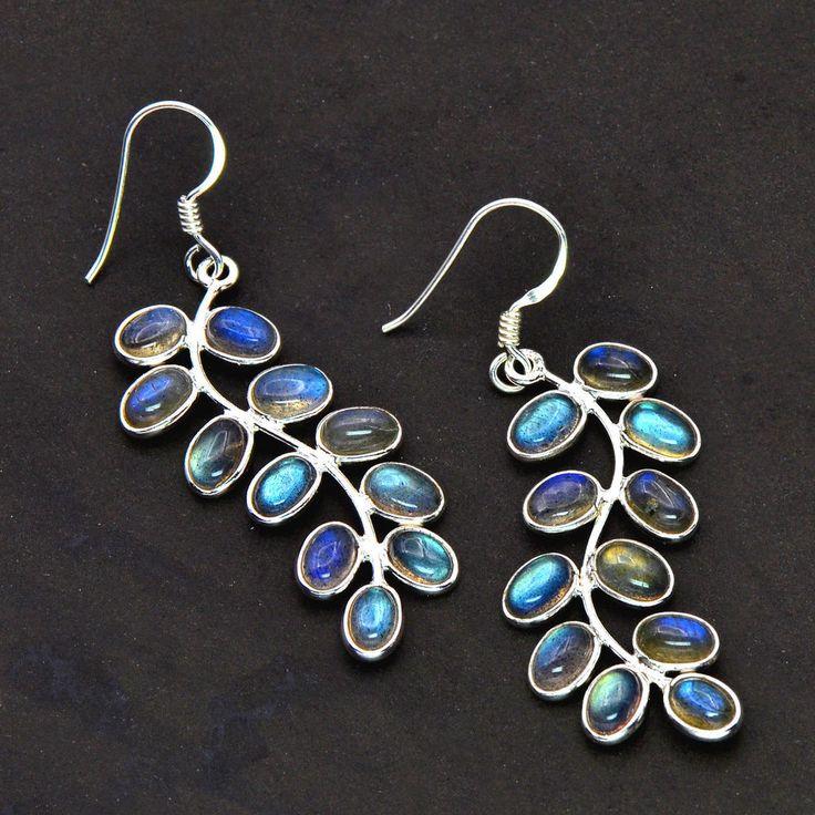 925 Solid Sterling Silver Natural Labradorite  grapes design Dangle Earrings #Unbranded #DropDangle