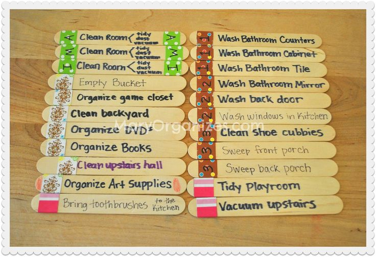 Mary Organizes » Chore Sticks: A Child-Friendly Approach To Chores