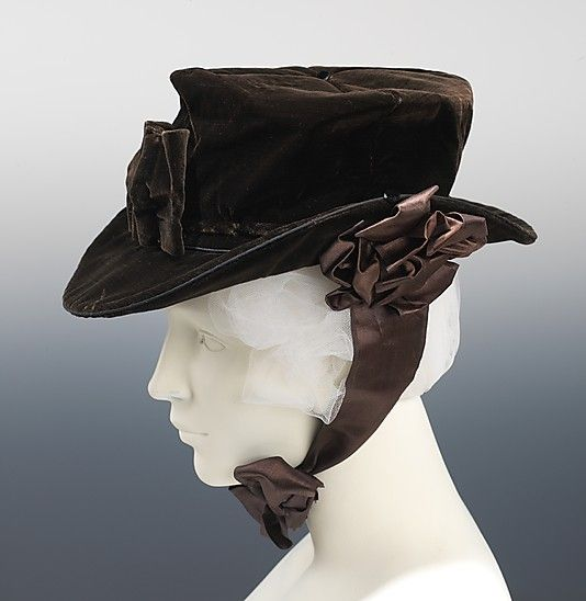 Riding Hat 1810, American, Made of cotton and silk ~~~~~ This shape of hat was worn both with riding habits of the period and as fashionable daywear. The buttons on the sides of the brim of this one probably held cords or ties to keep the hat from flying off during a gallop.