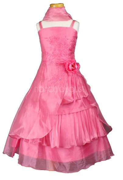 Lady Fancy Flower Girl Dress in Coral: This fancy flower girl dress in coral is for all the girly little girls out there. This gorgeous fancy coral flower girl dress is made of beautiful organza and offers a A-line style cut. It also features hand sewn sparkling sequin, beading, and embroidery throughout the bodice forming a beautiful masterpiece of floral sparkle. The sparkle from all the beading and sequin is sure to make your little flower girl look and feel like a true princess.