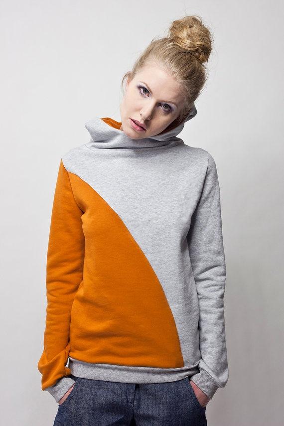 hoodie krokus mustard yellow grey by bluetezeitberlin on Etsy