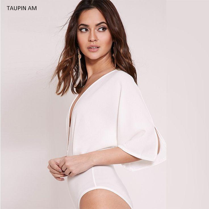 TAUPIN AM Sexy deep v neck bandage white bodysuit Women spandex leotard bodysuit top batwing sleeve womens full bodysuits black
