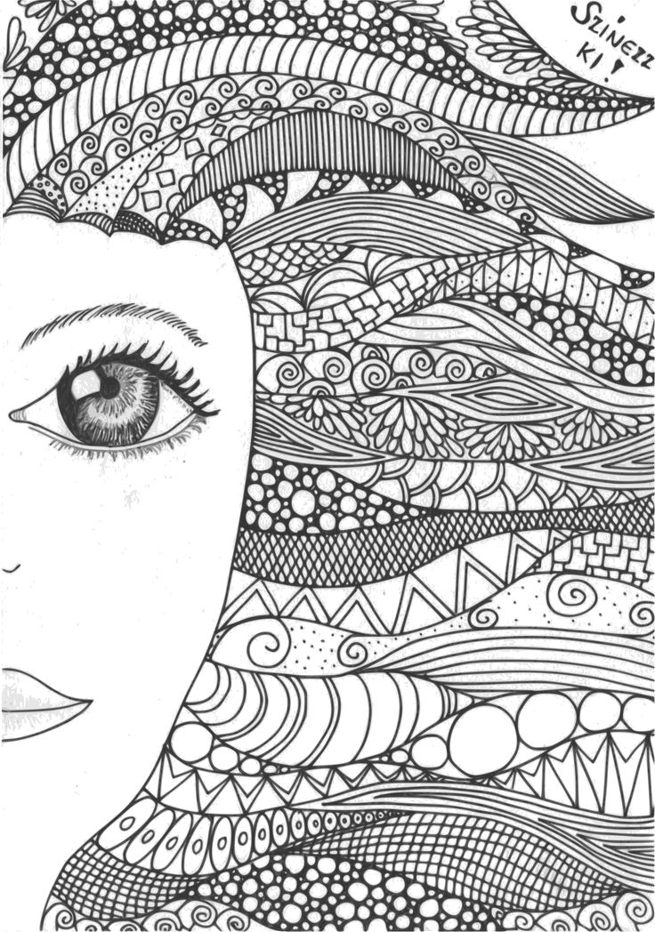 zentangle, doodle, girl, lány