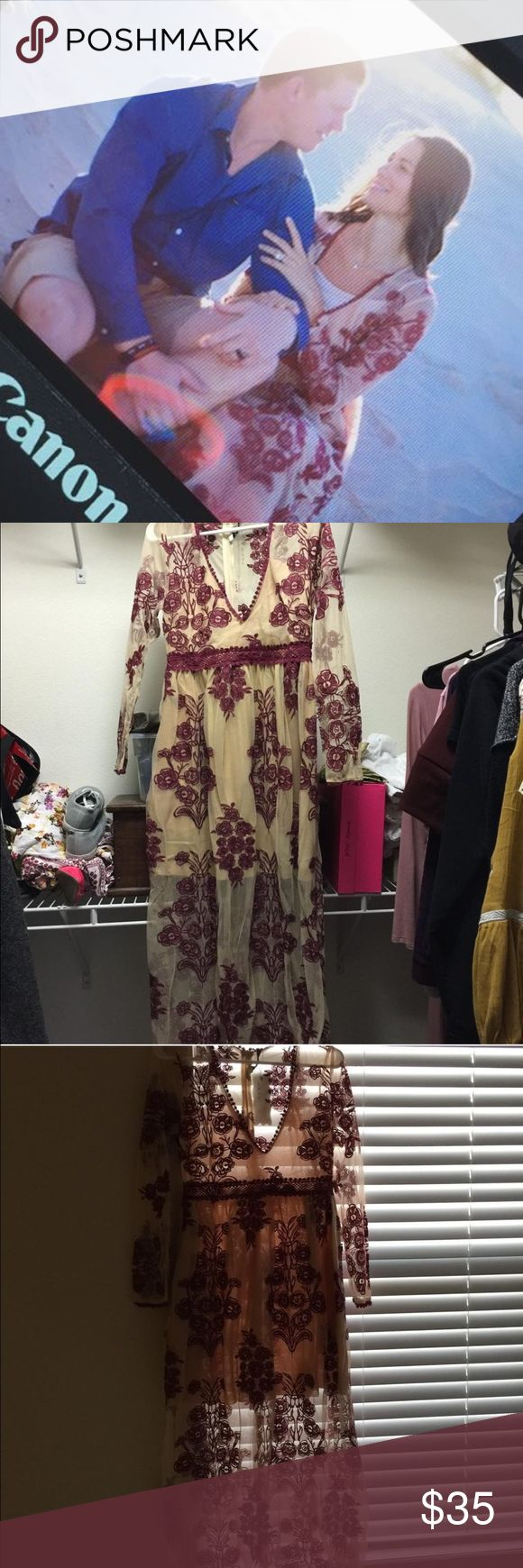 Long dress, mesh with flower details Beautiful nude long dress. Has maroon detailed flowers. Worn 1x for photo shoot. Size L. Still had tags on it. Dresses Maxi