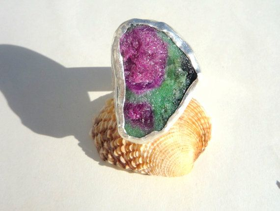 Sterling Silver Statement Ring.Gemstone Ring.Ruby by Iridonousa
