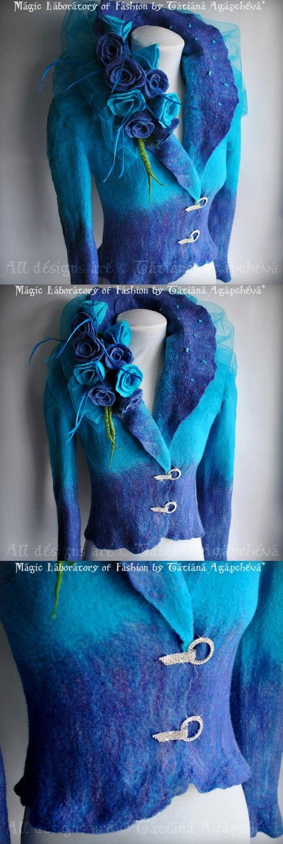 Bluetiful felted jacket w/rhinestones & flowers byTatiana Agapcheva (Ufa, Moscow, New York, Paris, Los Angeles)