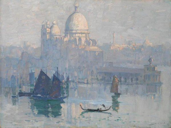 Sunrise on Santa Maria della Salute 1908 Arthur Streeton oil on canvas NatGallVic G'Day Adriana
