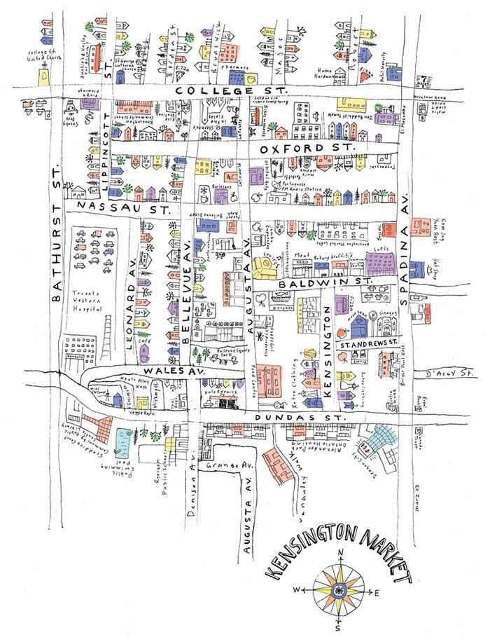 Hand-drawn map of Kensington Market.