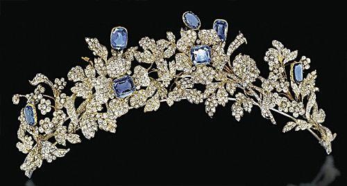 Sapphire tiara, circa 1860, which strongly resembles the Barberini tiara.