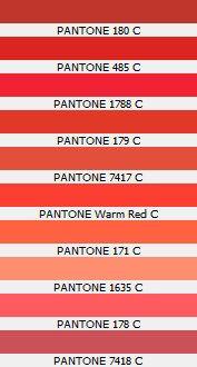 PANTONE 180 C  PANTONE 485 C  PANTONE 1788 C  PANTONE 179 C  PANTONE 7417 C  PANTONE Warm Red C  PANTONE 171 C  PANTONE 1635 C  PANTONE 178 C  PANTONE 7418 C