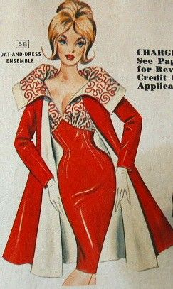 1950s Coat and Dress Ensemble Frederick's of Hollywood style color illustration print ad red white soutache wiggle sheath sexy 60s