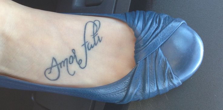 My foot tattoo 39 amor fati 39 love your fate ink for Amor fati tattoo