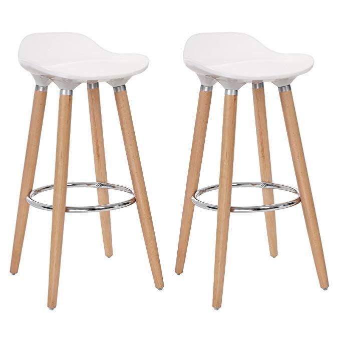 Songmics Set Of 2 Bar Stool Chair Kitchen Breakfast Swivel Barstool With Beechwood Legs Height 28 8 White Bar Stools Modern Bar Stools Kitchen Grey Bar Stools
