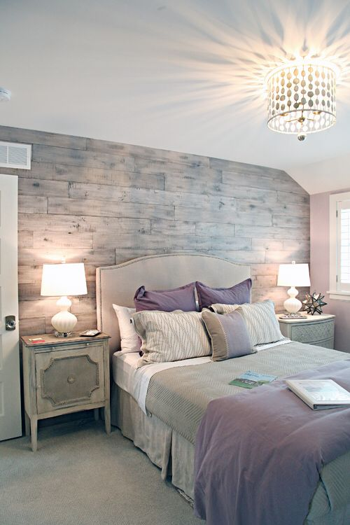 natural wood wall purple and gray bedroom