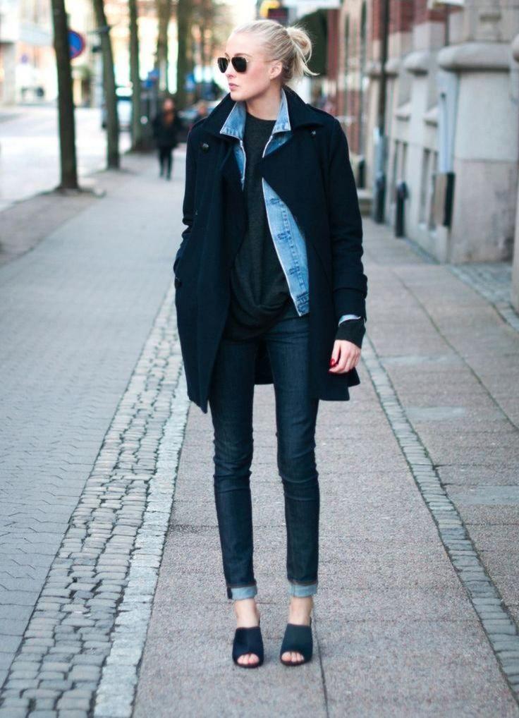 jeansjacke damen kombinieren outfits lagenlook mantel. Black Bedroom Furniture Sets. Home Design Ideas