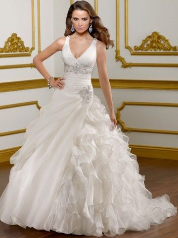 NO.02542702012 style ball gown vneck rhinestone sleeveless court trains organza wedding dresses for bridesDresses Wedding, Wedding Dressses, Dresses Style, Organza Wedding Dresses, Ball Gowns, Bridal Dresses, Bridal Gowns, Chapel Training, Ruffles