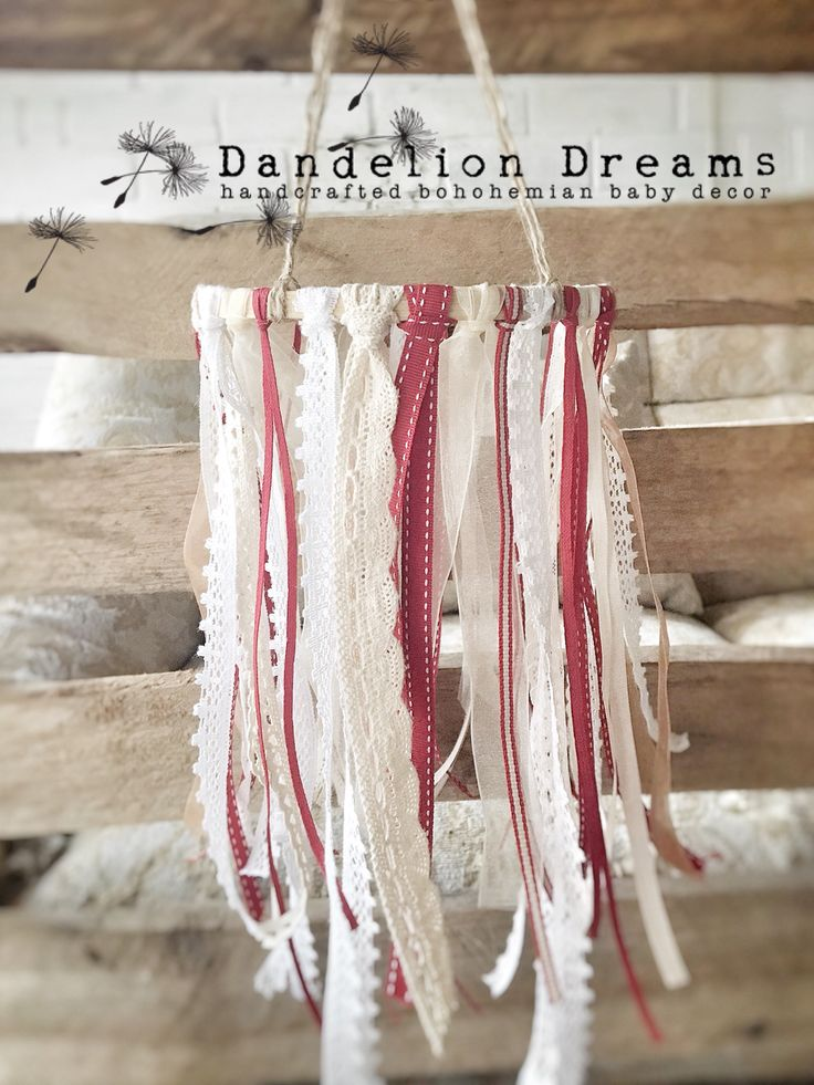 Gorgeous Red-Robin Dreamcatcher Cot Mobile.   https://hellopretty.co.za/dandelion-dreams/red-robin-ribbon-lace-whimsical-dreamcatcher-mobile
