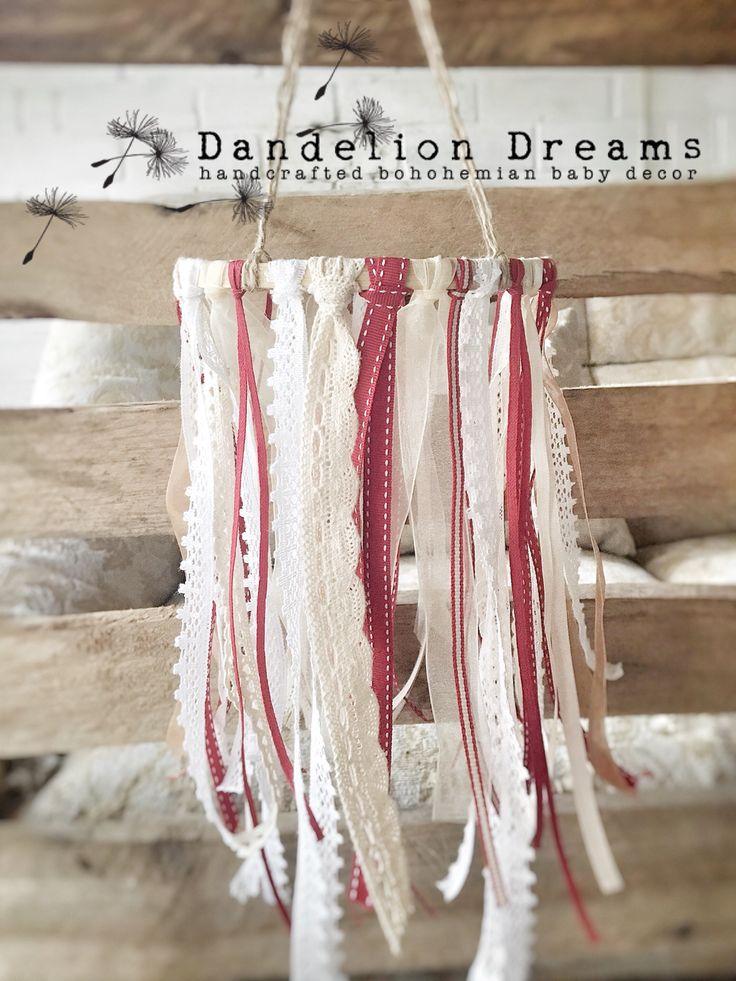 Gorgeous Red-Robin Dreamcatcher Cot Mobile.   https://hellopretty.co.za/dandelion-dreams/red-robin-ribbon-lace-whimsical-dreamcatcher-mobile