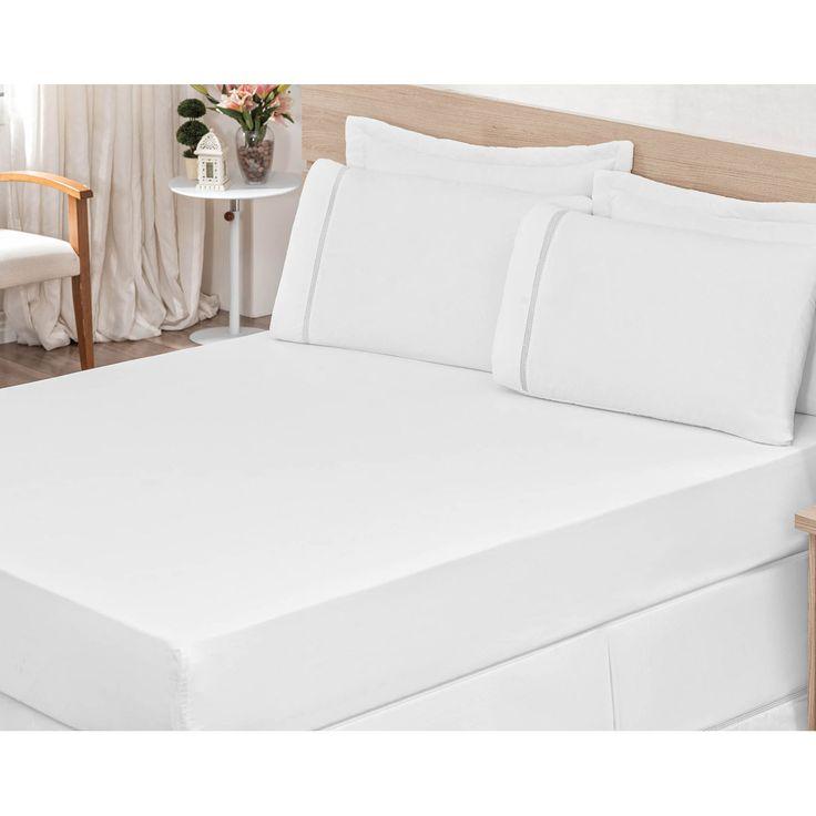 Comprar Lençol Avulso Casal King - Tecido Percal 150 Fios - Branco com entrega rápida e segura. Conheça a nossa loja.