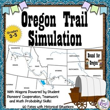 Students LOVE this Oregon Trail simulation and beg for more time to play! The best part is, student wagon groups move their wagons by playing math probability games and using cooperation and teamwork skills!  Sneaking in math and group work is a side bonus to this simulation. ...