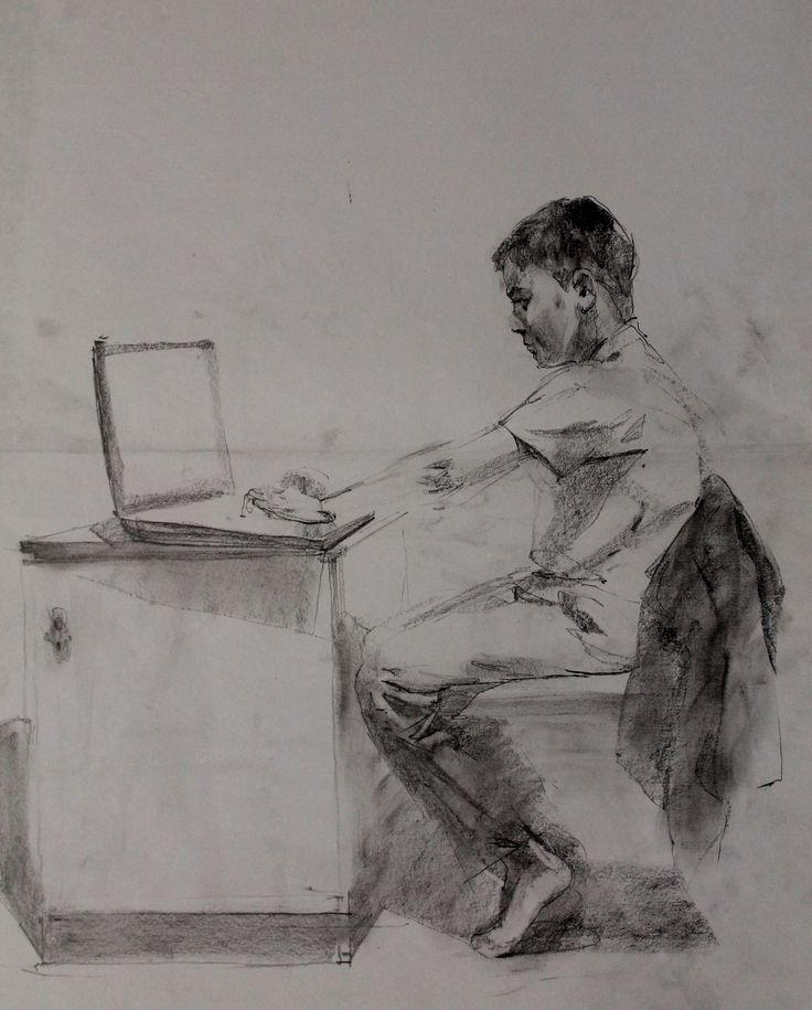 Титенков Владислав. Набросок. Геймер. А3.2013 Titenkov Vladislav. Sketch. Gamer. A3.2013