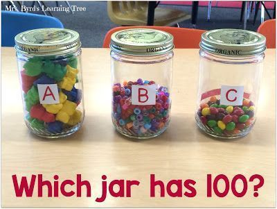 Come see how I do my estimation station and find lots more ideas for the 100th day of school in a kindergarten or first grade classroom. This post includes both math and literacy activities for this fun day. You can grab a FREEBIE too! (Mrs. Byrd's Learning Tree)
