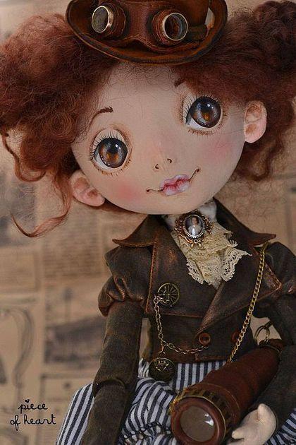 Купить позволь себе немного приключений... - коричневый, путешествие, приключение, саквояж, кукла, интерьерная кукла