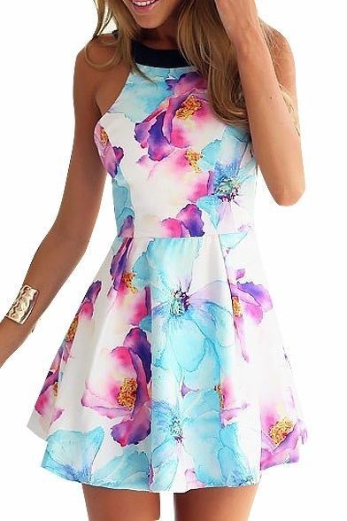 Sleeveless Blue&Purple Ink Color Flower Print A-line Dress