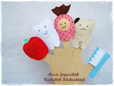 Filc Ujjbáb csomag - Mesés fogacskák, Baba-mama-gyerek, Játék, Szépségápolás, Báb, Meska