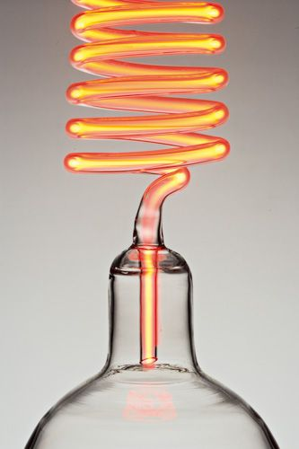 Rolf Sachs  'aladdin' 2008 / borosilicate glass, wooden laboratory stand, neon gas, electrics & transformer /	 H82 x W28 x D20cm / edition of 7