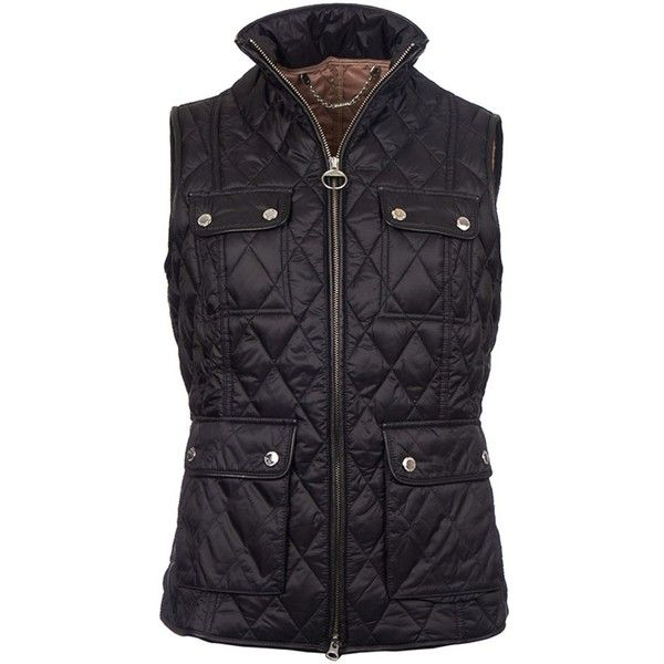 Women's Barbour X Range Rover Viscon Gilet - Black (1 890 SEK) ❤ liked on Polyvore featuring outerwear, vests, barbour gilet, barbour vest, quilted vest, barbour and gilet vest