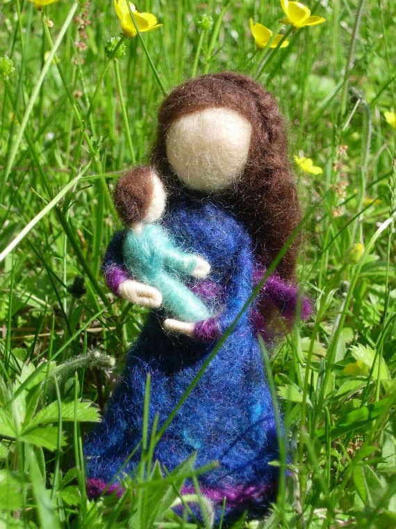 Mother and Child Needle Felted Dolls with Pipe by TheWanderingEwe, $28.00