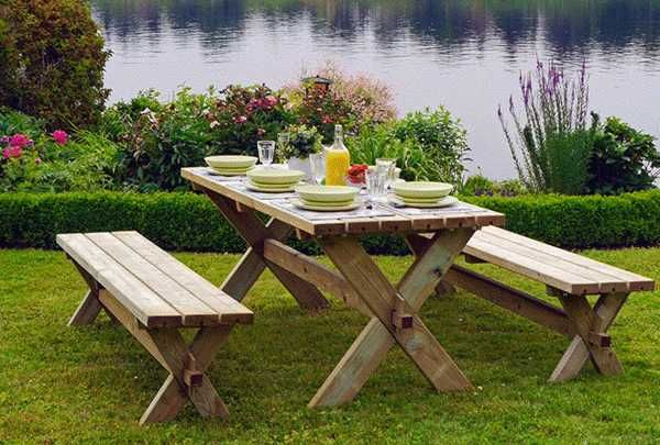 Stabile Holz Sitzgruppe. Gartengarnitur Garten Garnitur Outdoor ...